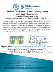 "MCHC Quarterly Meeting ""Sleep Safely, Sleep Soundly: Best Practices for Safe Sleep"" @ Kansas City Health Department, Biery Auditorium 